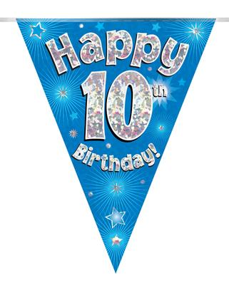 Party Bunting Happy 10th Birthday Blue Holographic 11 flags 3.9m - Banners & Bunting