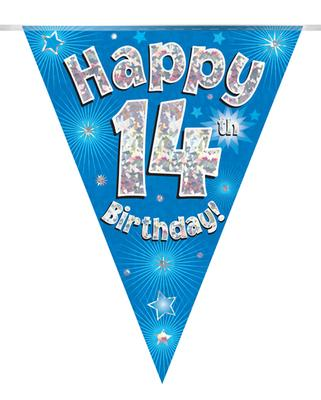 Party Bunting Happy 14th Birthday Blue Holographic 11 flags 3.9m - Banners & Bunting