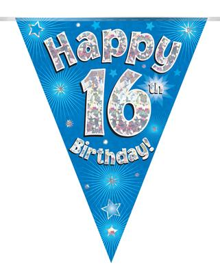 Party Bunting Happy 16th Birthday Blue Holographic 11 flags 3.9m - Banners & Bunting