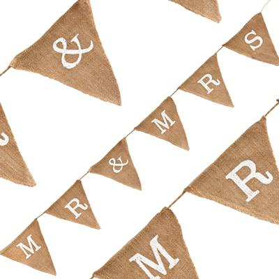 Natural Hessian Bunting Mr & Mrs 6 Flags 1.8m - Craft