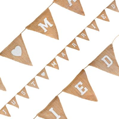 Natural Hessian Bunting Just Married 12 Flags 3.2m - Banners & Bunting