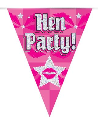 Party Bunting Hen Party Holographic Dot 11 flags 3.9m - Banners & Bunting