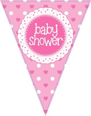 Party Bunting Baby Shower Pink 11 flags 3.9m - Banners & Bunting