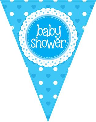 Party Bunting Baby Shower Blue 11 flags 3.9m - Banners & Bunting