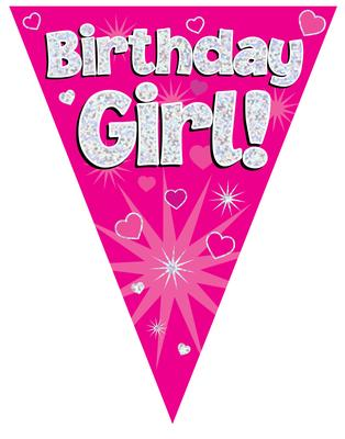 Party Bunting Birthday Girl Pink Holographic 11 flags 3.9m - Banners & Bunting