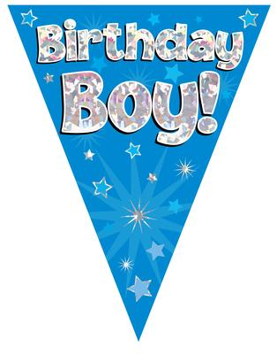 Party Bunting Birthday Boy Blue Holographic 11 flags 3.9m - Banners & Bunting