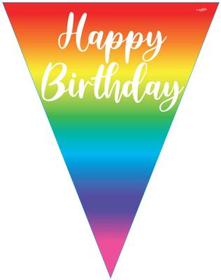 Party Bunting Rainbow Script Birthday 11 flags 3.9m - Banners & Bunting