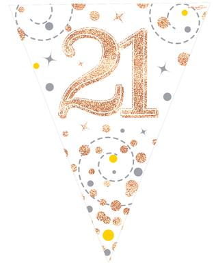 Party Bunting Sparkling Fizz 21 White & Rose Gold Holographic 11 flags 3.9m - Banners & Bunting