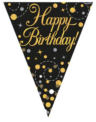 Party Bunting Sparkling Fizz Birthday Black & Gold Holographic 11 flags 3.9m - Banners & Bunting