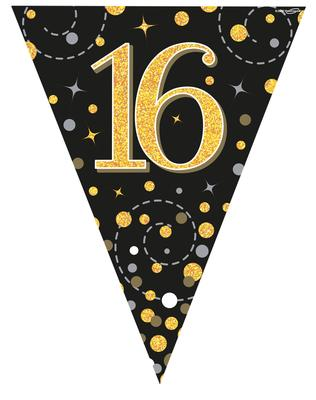 Party Bunting Sparkling Fizz 16 Black & Gold Holographic 11 flags 3.9m - Banners & Bunting