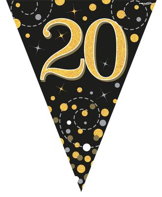 Party Bunting Sparkling Fizz 20 Black & Gold Holographic 11 flags 3.9m - Banners & Bunting