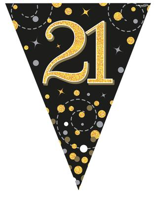 Party Bunting Sparkling Fizz 21 Black & Gold Holographic 11 flags 3.9m - Banners & Bunting