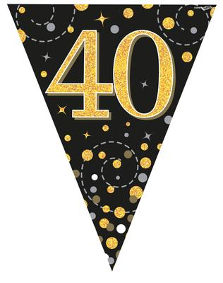 Party Bunting Sparkling Fizz 40 Black & Gold Holographic 11 flags 3.9m - Banners & Bunting