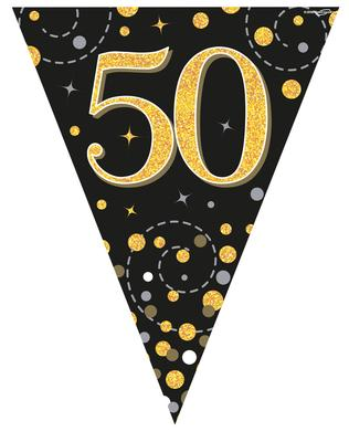 Party Bunting Sparkling Fizz 50 Black & Gold Holographic 11 flags 3.9m - Banners & Bunting