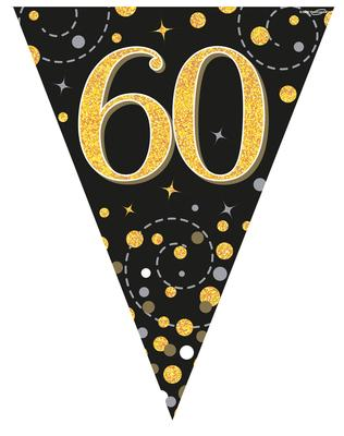 Party Bunting Sparkling Fizz 60 Black & Gold Holographic 11 flags 3.9m - Banners & Bunting