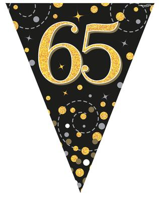 Party Bunting Sparkling Fizz 65 Black & Gold Holographic 11 flags 3.9m - Banners & Bunting