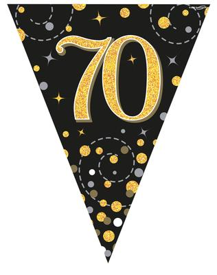 Party Bunting Sparkling Fizz 70 Black & Gold Holographic 11 flags 3.9m - Banners & Bunting
