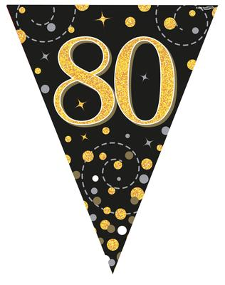 Party Bunting Sparkling Fizz 80 Black & Gold Holographic 11 flags 3.9m - Banners & Bunting