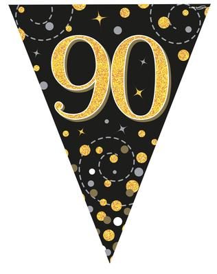 Party Bunting Sparkling Fizz 90 Black & Gold Holographic 11 flags 3.9m - Banners & Bunting