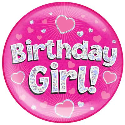 Oaktree Holographic Jumbo Badge - Birthday Girl - Jumbo Badges