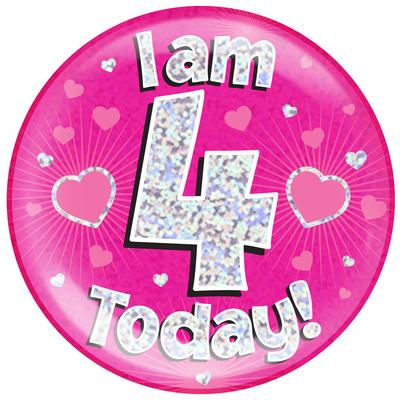 Oaktree Holographic Jumbo Badge - I am 4 Today Pink - Jumbo Badges