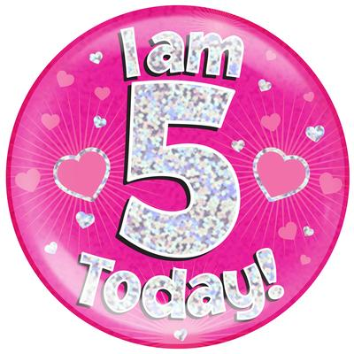 Oaktree Holographic Jumbo Badge - I am 5 Today Pink - Jumbo Badges