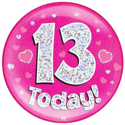 Oaktree Holographic Jumbo Badge - 13 Today Pink - Jumbo Badges