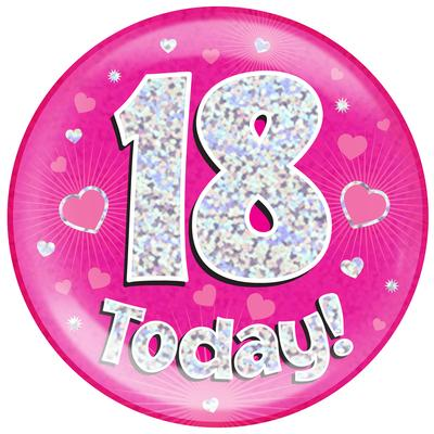 Oaktree Holographic Jumbo Badge - 18 Today Pink - Jumbo Badges