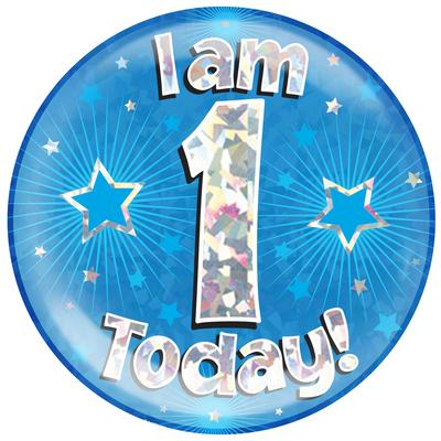 Oaktree Holographic Jumbo Badge - I am 1 Today Blue - Jumbo Badges