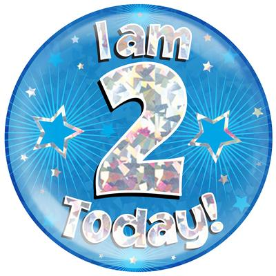 Oaktree Holographic Jumbo Badge - I am 2 Today Blue - Jumbo Badges