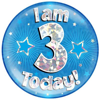 Oaktree Holographic Jumbo Badge - I am 3 Today Blue - Jumbo Badges