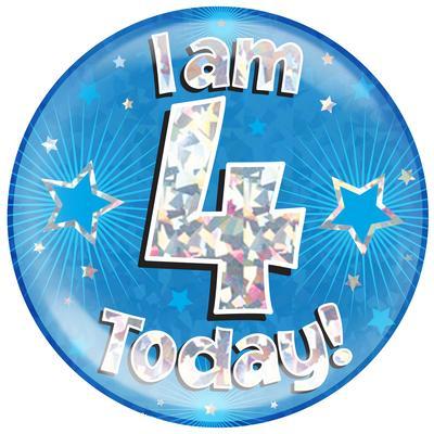 Oaktree Holographic Jumbo Badge - I am 4 Today Blue - Jumbo Badges