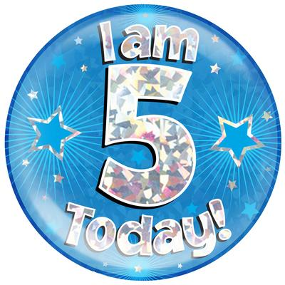 Oaktree Holographic Jumbo Badge - I am 5 Today Blue - Jumbo Badges