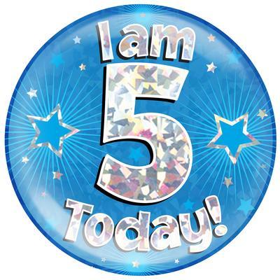 Oaktree Holographic Jumbo Badge - I am 5 Today Blue - Jumbo Badges