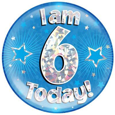 Oaktree Holographic Jumbo Badge - I am 6 Today Blue - Jumbo Badges