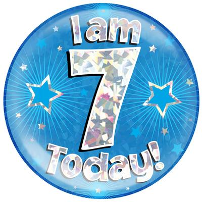 Oaktree Holographic Jumbo Badge - I am 7 Today Blue - Jumbo Badges