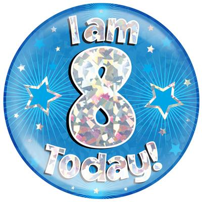 Oaktree Holographic Jumbo Badge - I am 8 Today Blue - Jumbo Badges