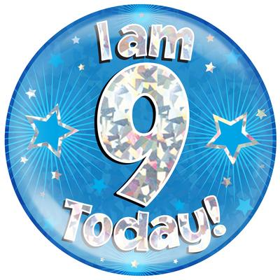Oaktree Holographic Jumbo Badge - I am 9 Today Blue - Jumbo Badges
