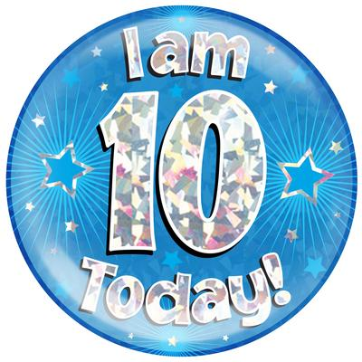 Oaktree Holographic Jumbo Badge - I am 10 Today Blue - Jumbo Badges