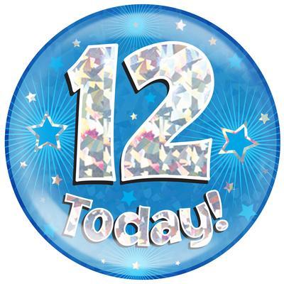 Oaktree Holographic Jumbo Badge - 12 Today Blue - Jumbo Badges