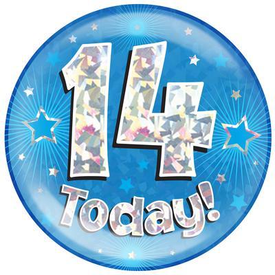 Oaktree Holographic Jumbo Badge - 14 Today Blue - Jumbo Badges