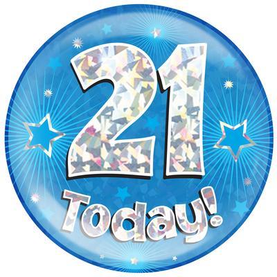 Oaktree Holographic Jumbo Badge - 21 Today Blue - Jumbo Badges
