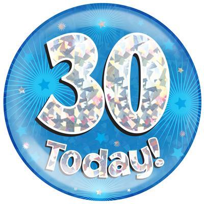 Oaktree Holographic Jumbo Badge - 30 Today Blue - Jumbo Badges