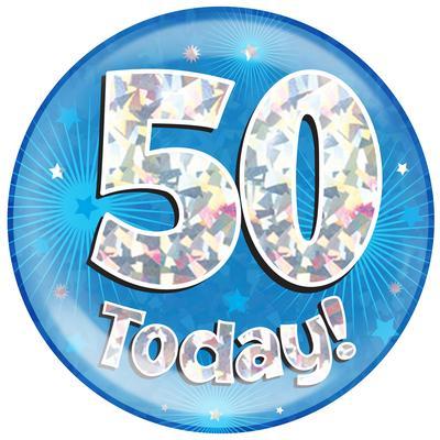Oaktree Holographic Jumbo Badge - 50 Today Blue - Jumbo Badges