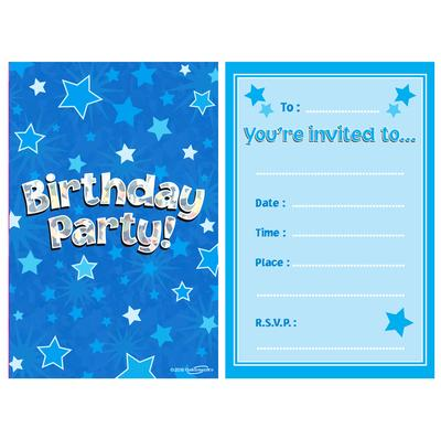 Birthday Holographic Invitations/envelopes 8pcs - Partyware