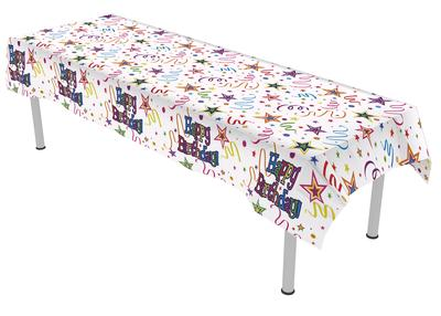 Ribbons and Stars Colourfast Plastic Table Cover 137cm x 2.6m 1pc - Partyware