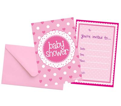 Baby Shower Pink Invites/envelopes 8pcs - Partyware