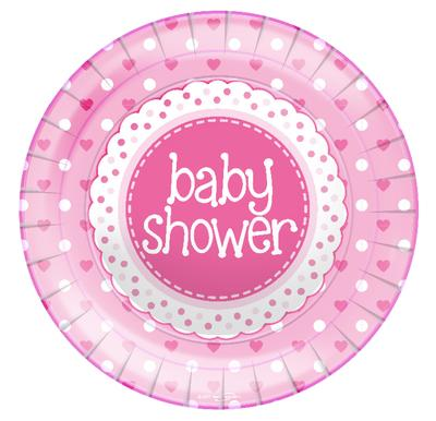 "Baby Shower Pink 9""/23cm Plates 8pcs - Partyware"