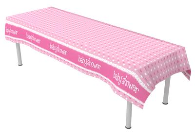 Baby Shower Pink Colourfast Plastic Table Cover 137cm x 2.6m 1pc - Partyware