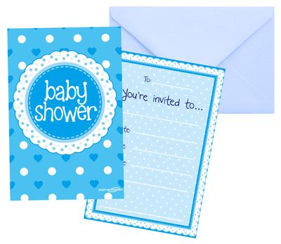 Baby Shower Blue Invites/envelopes 8pcs - Partyware